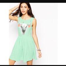Nwt Wildfox Cherie Skull Dress In Green M