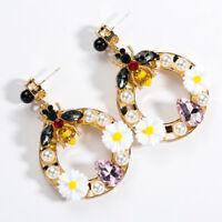 Fashion Womens Crystal Bee Geometric Drop Dangle Stud Earrings Jewelry Gift