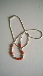Native American Liquid Silver and Coral Choker Necklace