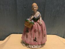 Woman With  Flower Basket Vintage planter unmarked