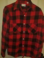Vintage BIG MAC JC Penney Men's  70s/80s  Flannel Plaid Black Red Print Shirt M