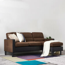 Modern Leather & Fabric L Shape Chaise Corner Sofa Couch Settee Left or Right