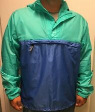 PATAGONIA Mens Blue Green Hoodie Pullover Thin Light Jacket Nylon WindBreaker XL
