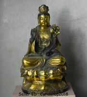 """10"""" Old Chinese Bronze Gilt Kwan-Yin Guan Yin Boddhisattva Goddess Lotus Statue"""