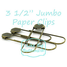 """JUMBO Paper Clips 25 ANTIQUE BRASS 3 1/2"""" Giant Bookmarks/Paperclips w/Glue Pad"""