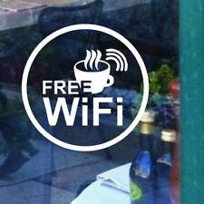 Adesivo FREE WI-FI sticker wifi libera vetrina vetro negozio bar caffè BIANCO