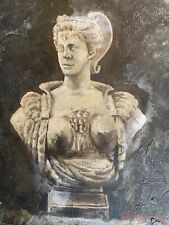 """Bust Of Woman Hand Painted 8""""x10"""" Oil Painting Unstretched Canvas Art"""