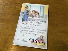 Antique vintage Postcard Get Well floral religious Christian rose greeting card