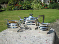 Superb Heavy Solid Silver And Gilt Edwardian 3 Piece Tea Set William Aitken 1905