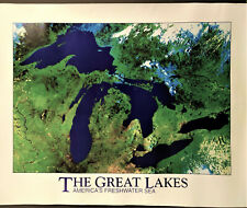 The Great Lakes Americas Freshwater Sea Topographical Poster 31 x 24