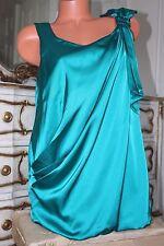 DAVID EMANUEL Brillant légèrement élastique Faux Satin Vert Chemisier Femme Taille 16