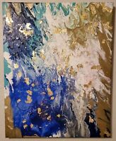 Gold Leaf Acrylic Abstract Painting 16x20 Canvas Multicolored