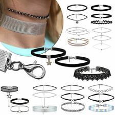3er Set Damen Choker Halsband Halskette Spitze Gothic Tattoo Samt Anhänger Band