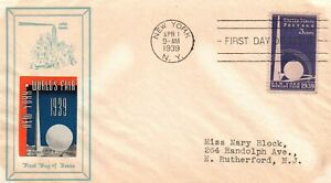 SC# 853 FDC - Orange and Blue Poster Stamp Cachet - L32062