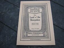 1926 The Land O' Slowpokes Peggy Poe Paine Popular Plays booklet