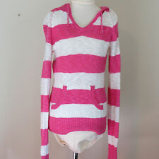 Pink White Sweater Striped Multi-color Long Sleeves Hood Pocket Juniors XS S