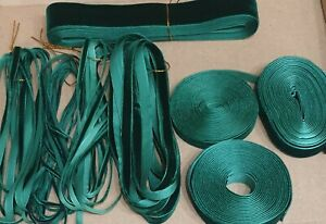 Dark Green Premium Velvet Ribbon 3MM-25MM 24 Metres 8 Widths Mix Box