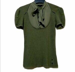 Escada Sport Olive Green Bow silk Top