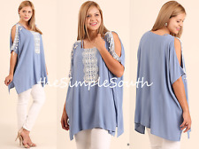 New UMGEE Blue Crochet Fringe Lace Open Shoulder Strappy Neck Box Tunic Top XL