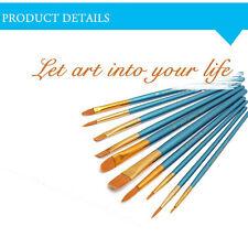 10pcs Fine Artist Paint Brush Set Wooden Watercolor Painting Acrylic Oil Brushes