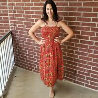 NWT Angie Smocked Red Floral Button boho Summer Sun Midi beach Dress S/M/L