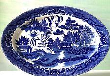 Vintage Blue Willow Transferware Oval Platter Japan