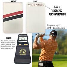 NAME on Sunfish Leather Golf Scorecard Yardage Book Holder Cover Back Pocket
