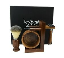 CLASS Wooden Shaving Set For Men's With Brown Badger Hair Brush & Shavatte Razor