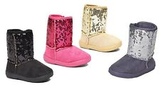 New Infant Toddler Girls Cute Shiny Sequins Bling Star Bootie Shoes-275
