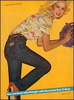 1980 Blond Teen girl Wrangler Jeans baseball mitt vintage photo print ad ads42