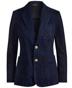 Women's Polo Ralph Lauren Indigo Denim Monogram Blazer Jacket New $298