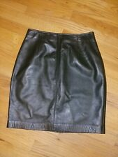 Ellen Tracy Petite Dark Green Leather Skirt Size 10