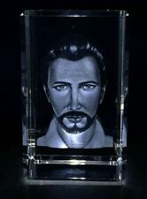 Dr. Augusto de Almeida Image Engraved in Crystal with Lighted Stand