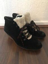 Clarks artisan black suede laceup wedge heel wool Fur detail ankle boots UK 7