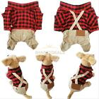 Cute Dog Pet Boy Plaid Jumpsuit Coat Jacket Shirt Puppy Clothes Apparel Costume