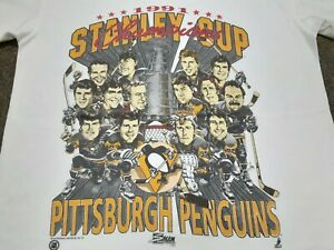 VTG 90s Pittsburgh Penguin 1991 Stanley Cup Champions Caricature T Shirt Medium