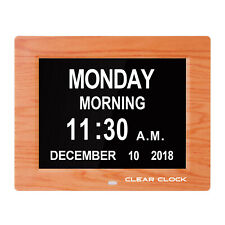 Clear Clock Digital Memory Loss Day Clock With Alarm Dementia Clock Senior OAK