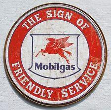 Mobil USA Tankstellen Friendly Service Metall Werbung Schild