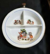 Vintage Baby Food Warmer Serving Bowl Excello Kids Playing Theme Ceramic &Chrome