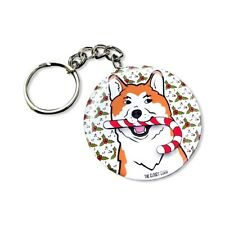 Akita Dog Candy Cane Christmas Keychain Holiday Key Ring Gifts and Accessories