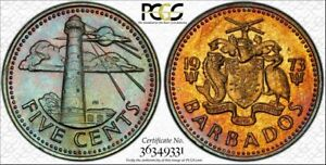 1973 BARBADOS FIVE CENTS PCGS MS65 BU HIGH GRADED COLOR TONED TWO GRADED HIGHER