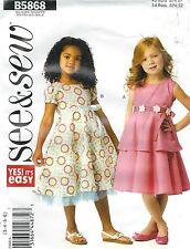 See & Sew 5868 Girls' Dress 3, 4, 5, 6   Sewing Pattern