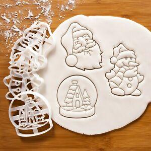 Set De 3 Noël Cookie Emporte Pièce : Père Visage,Bonhomme Neige,Neige Globe
