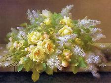 Dream-art Oil painting Raoul Maucherat de Longpre Yellow Roses and Lilacs canvas