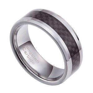 Tungsten Carbide 8mm Black Carbon Fiber wedding  Band Size 8-13 TG041