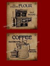 Farmhouse Primitive Style Flour & Coffee Labels    #227