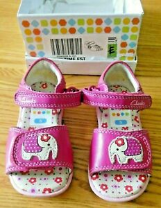 Superb Clarks Baby Girls Fun Time Hot Pink Sandals with Elephant Applique UK 5F