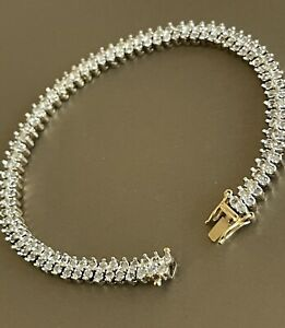Vintage Solid 9ct Yellow Gold Diamond Tennis Bracelet 1.50ct Statement 10g