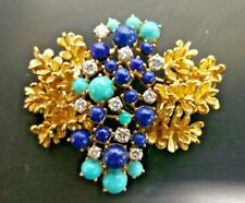 18k Yellow Gold Diamond Lapis & Turquoise Brooch Pin Marked VCA