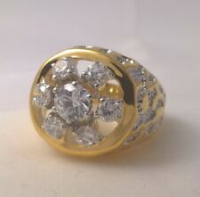 G-Filled Mens 18k yellow gold ring simulated diamond sparkle bling Gents hip hop
